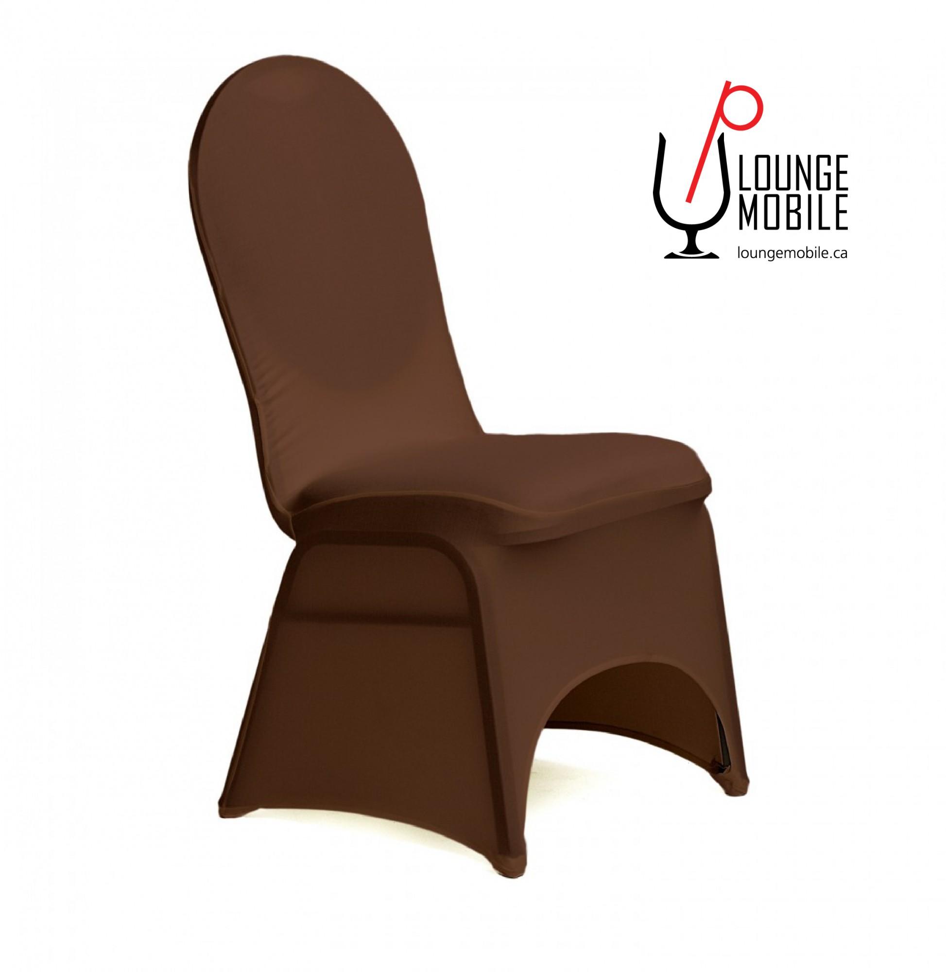 Housse de chaise lycra chocolat housses de chaises les for Housse de chaise turquoise