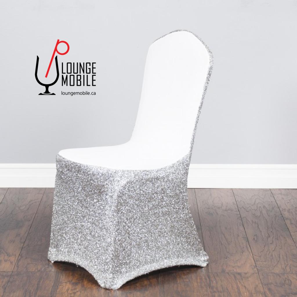 Housse de chaise lycra blanc avec brillants argent for Housse lycra