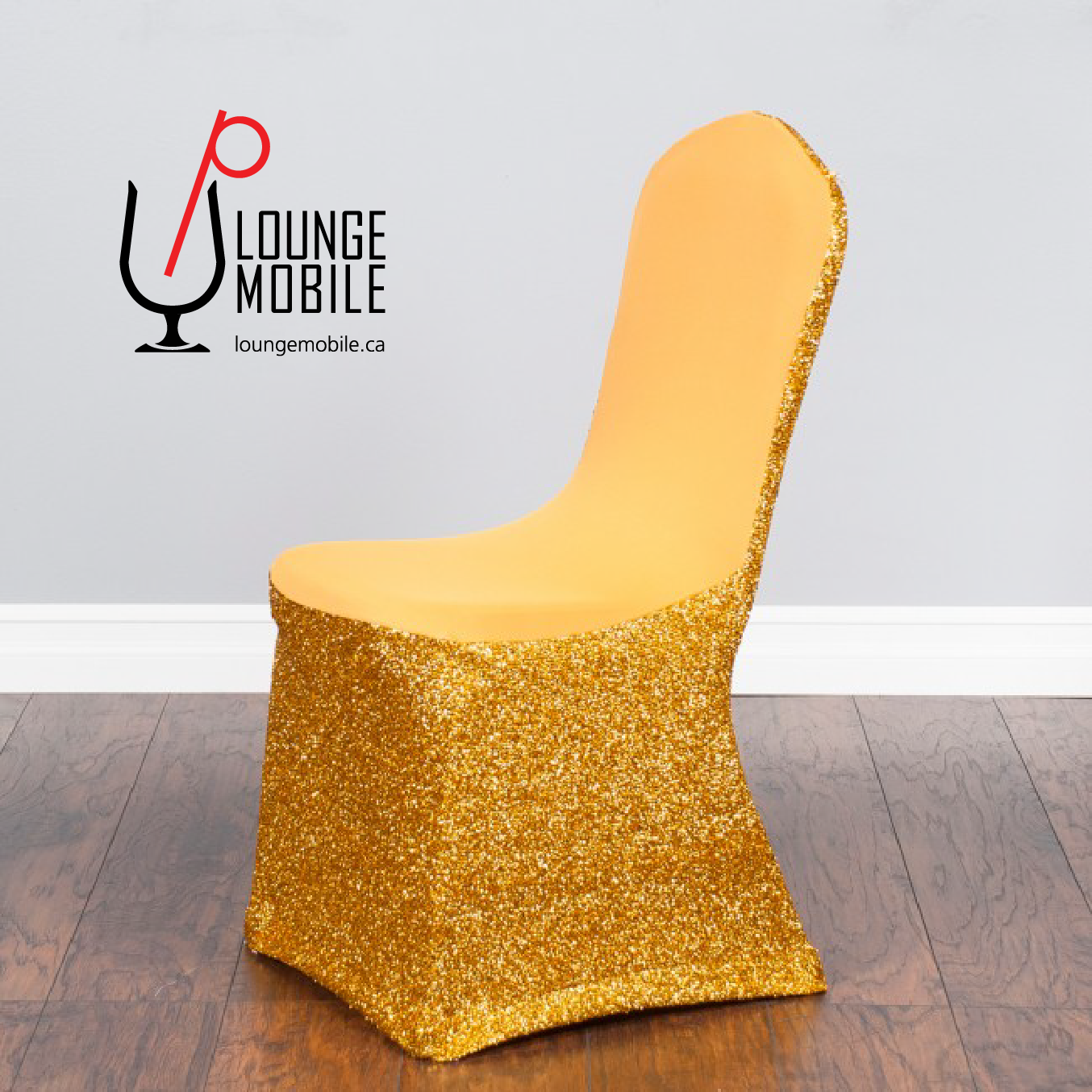 Housse de chaise lycra avec brillants or d coration for Housse chaise