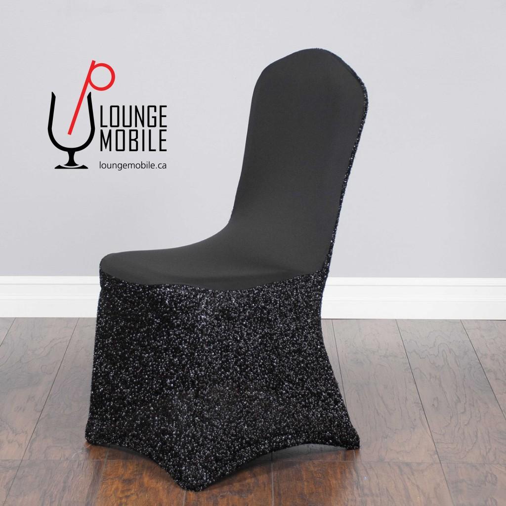Housse de chaise lycra avec brillants noir d coration for Housse lycra