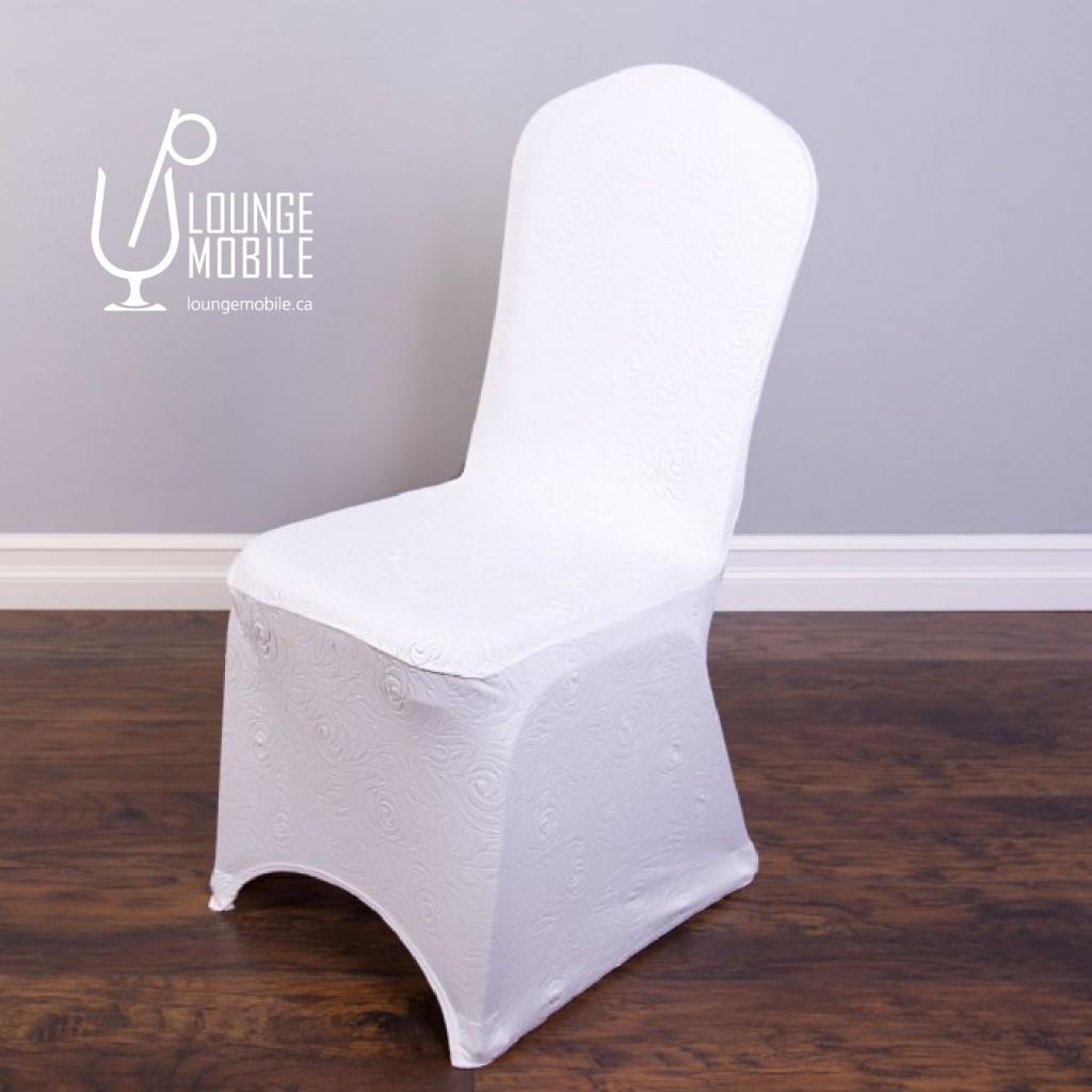 Housse de chaise lycra rosettes blanche housses de for Housse chaise lycra