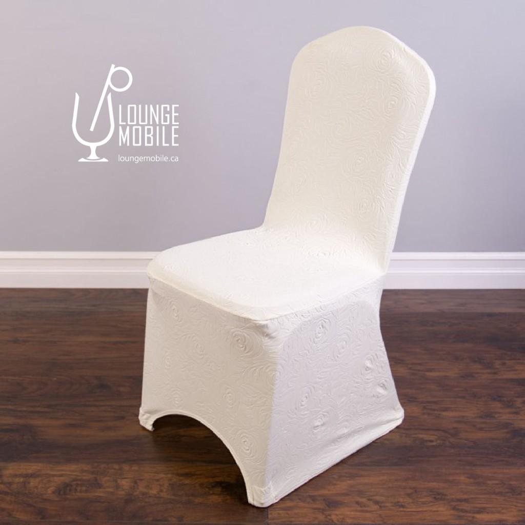 Housse de chaise lycra rosettes ivoire housses de for Housse lycra